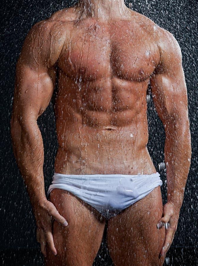 muscle le torse sexy humide d 39 homme sous la pluie image stock image du pose bodybuilder 21815913. Black Bedroom Furniture Sets. Home Design Ideas