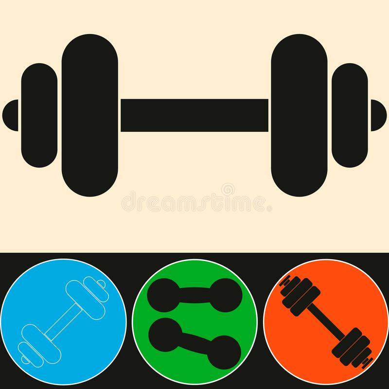 muscle lifting icon, fitness barbell, gym icon, exercise dumbbells isolated, weight lifting symbol royalty free illustration