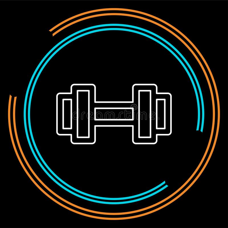 Muscle lifting icon, fitness barbell, gym icon, exercise dumbbells isolated, vector weight lifting symbol stock illustration
