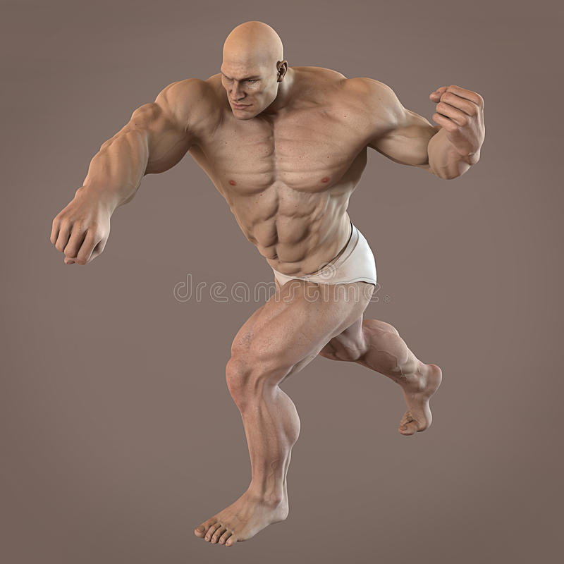 Muscle man bodybuilder stock illustration