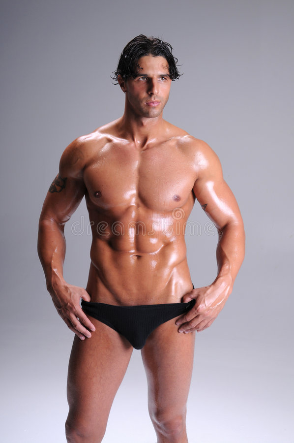 Muscle Man In Briefs royalty free stock photo