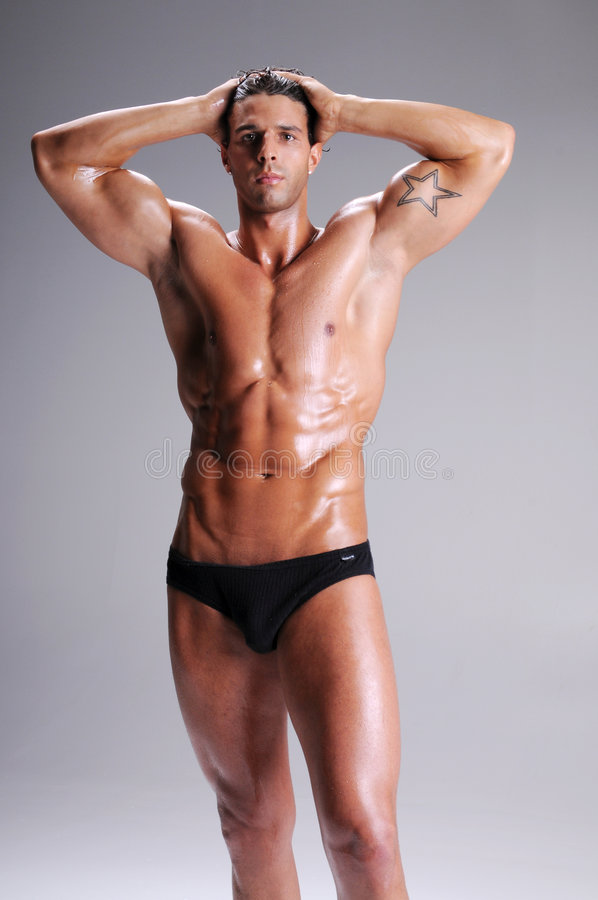 Muscle Man In Briefs stock photo