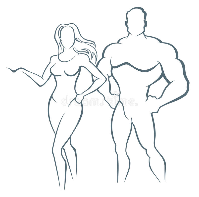 Muscle man and Fitness woman - illustration. Vector illustration of muscleman and fitness woman vector illustration