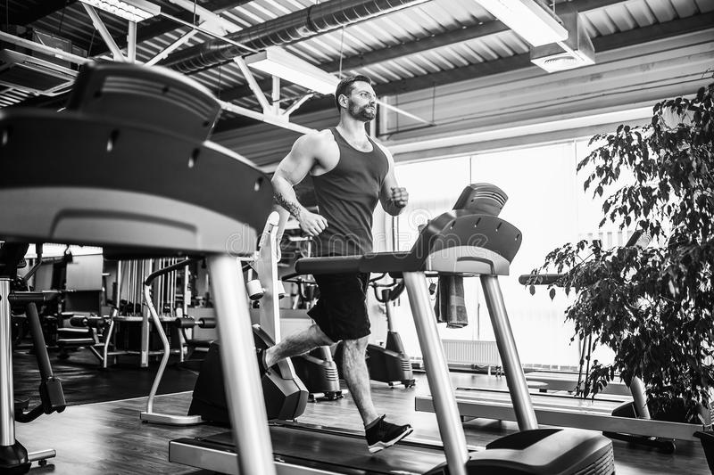 Muscle man running on treadmill. Fit Muscle Man Running on Treadmill in Gym stock photo