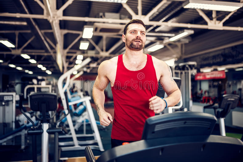 Muscle man running on treadmill. Fit Muscle Man Running on Treadmill in Gym stock images