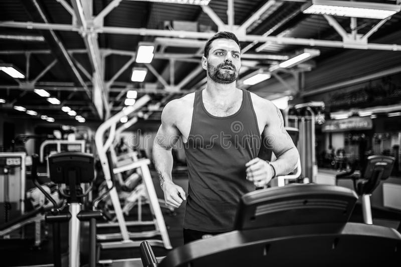 Muscle man running on treadmill. Fit Muscle Man Running on Treadmill in Gym royalty free stock image