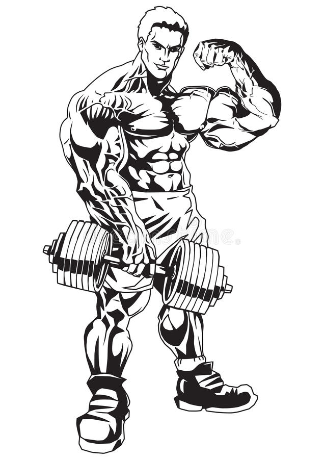 It is a graphic of Dynamic Muscular Guy Drawing