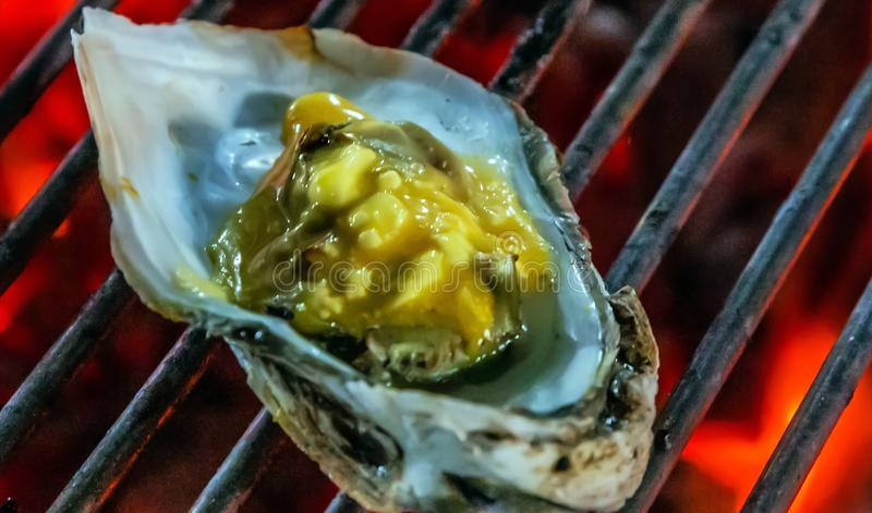 Muscle mussel oyster grilling steamed barbecue. Cooking bbq Food Background royalty free stock photos