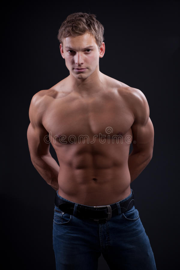 Muscular Young Naked Smiling Sexy Guy Stock Photo (Edit