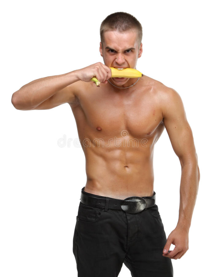 Muscle Wet Naked Young Man Eating The Banana Stock Photos