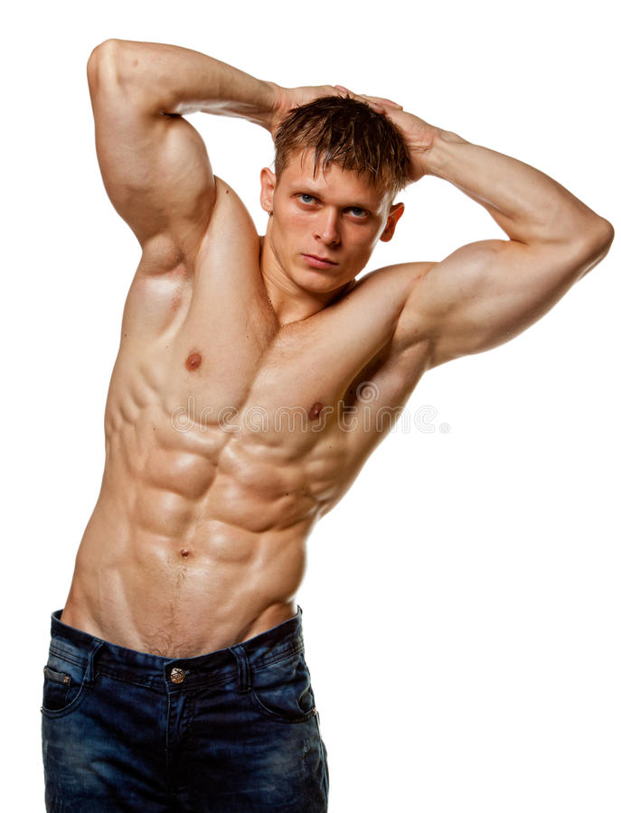 Muscle Wet Naked Young Man Sit Near Divan Stock Photo