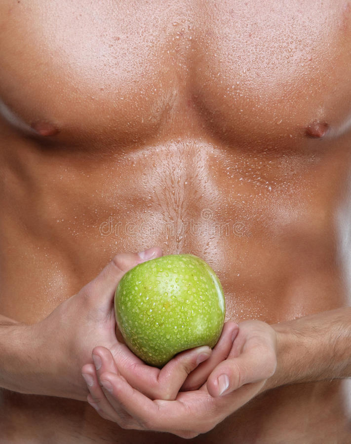 Download Muscle Wet Naked Young Man Torso And Apple Stock Photography - Image: 19703482