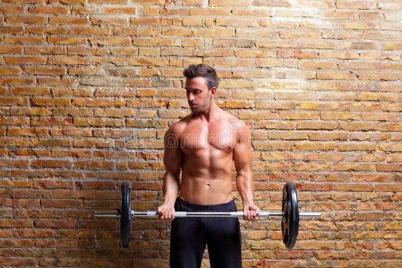 Muscle shaped body man with weights on brick wall royalty free stock photos