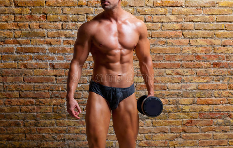 Muscle shaped underwear man with weight on gym stock images