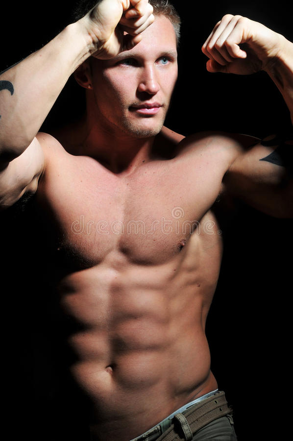 Muscled model. Muscled male model posing in studio royalty free stock photo