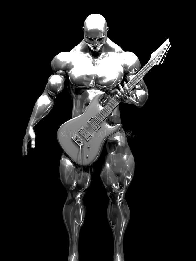 Muscleman met een gitaar vector illustratie