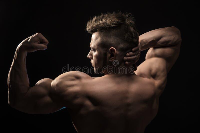 Muscles du dos de pose modèles de forme physique sportive forte d'homme image stock