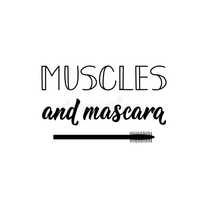 Muscles et mascara Illustration de vecteur lettrage Illustration d'encre Gymnase de sport, label de forme physique illustration de vecteur