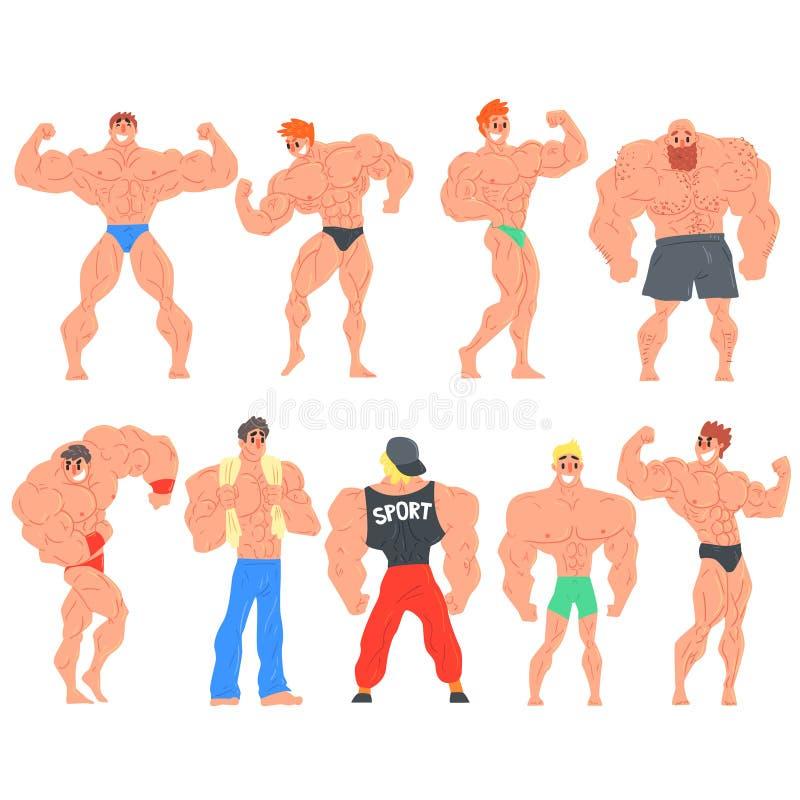 Muscly-Bodybuilder-lustige Charaktere eingestellt stock abbildung