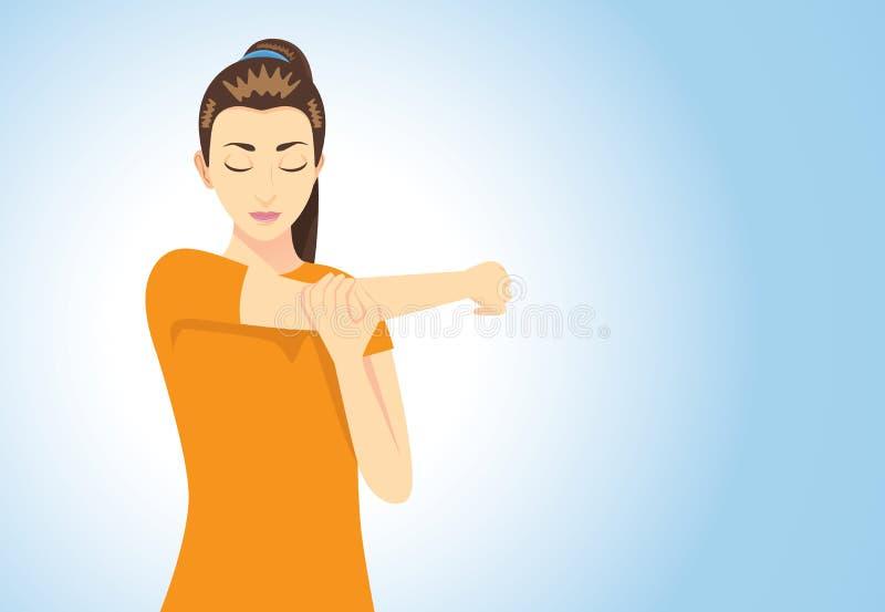 Muscoli che allungano posizione illustrazione vettoriale