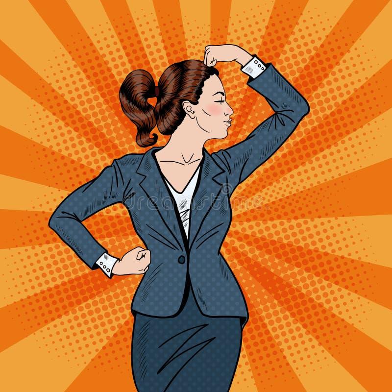 Muscoli di Art Confident Business Woman Showing di schiocco illustrazione vettoriale