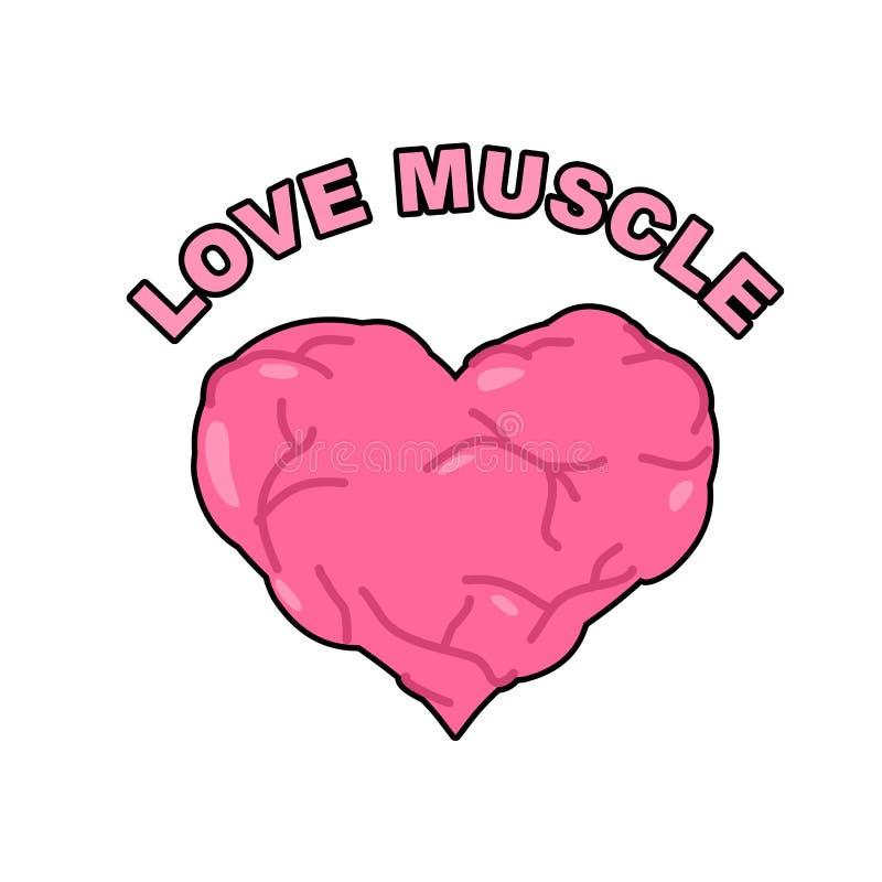 Muscolo di amore Forte cuore atletico con i muscoli e le vene Vecto royalty illustrazione gratis