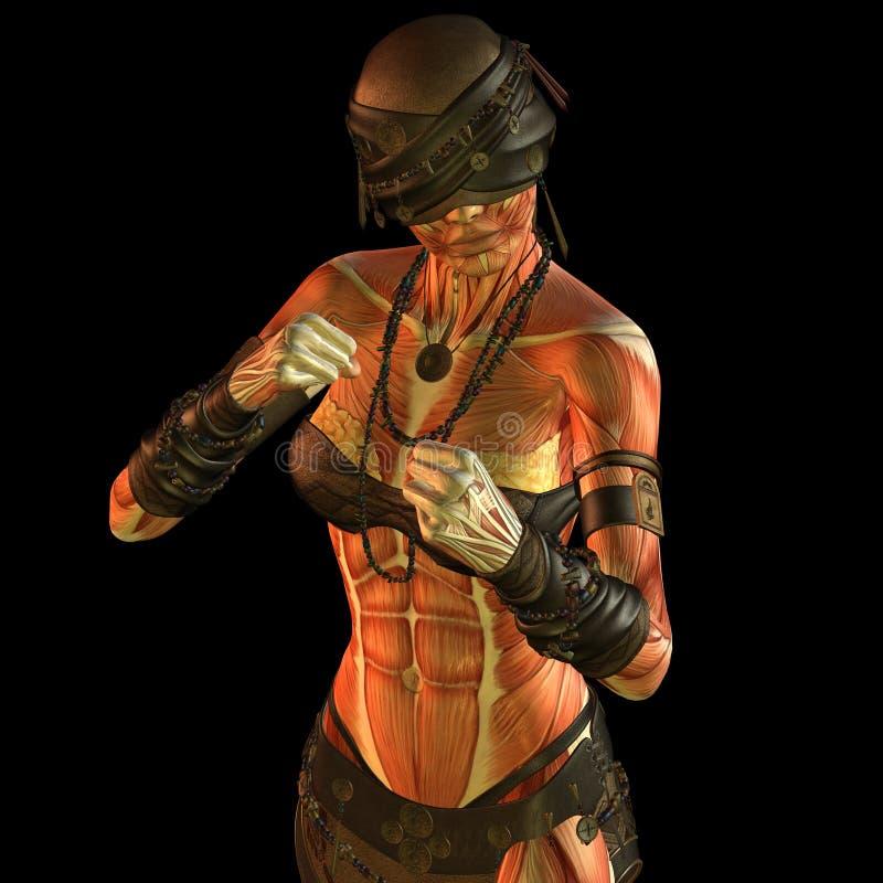 Muscolo di Muskelaufbau che combatte donna cieca illustrazione di stock