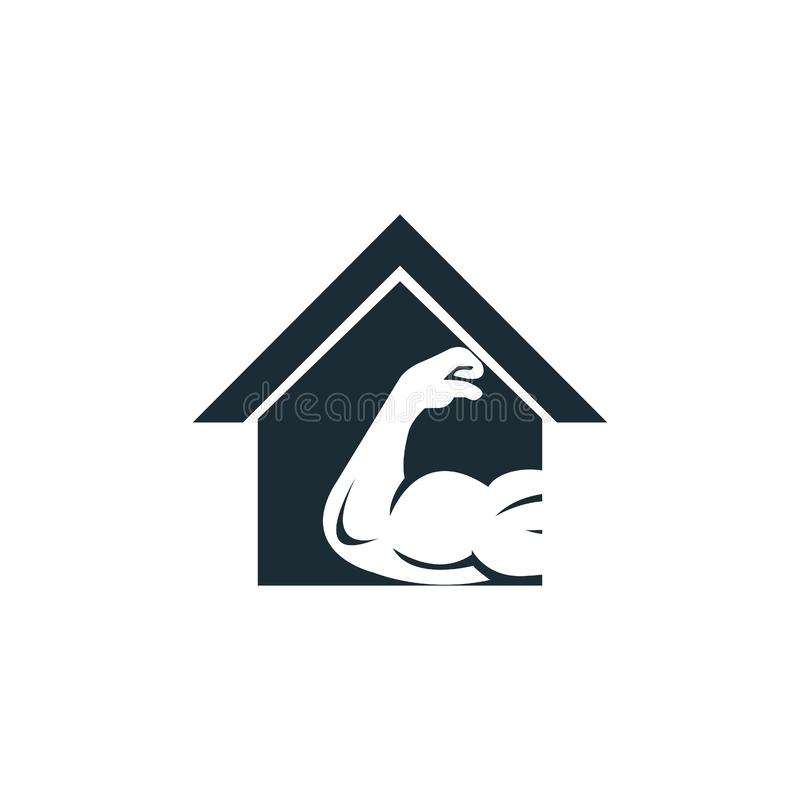 Muscular arm and house vector logo design. Fitness vector logo design template. Logo template with the image of a muscular arm stock illustration