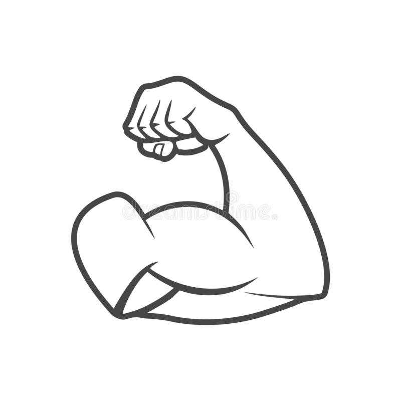 Muscular arm icon, Simple logo. On white background vector illustration