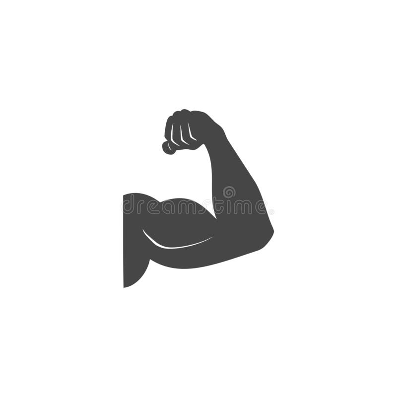 Muscular arm icon, Simple vector logo. On white background stock illustration