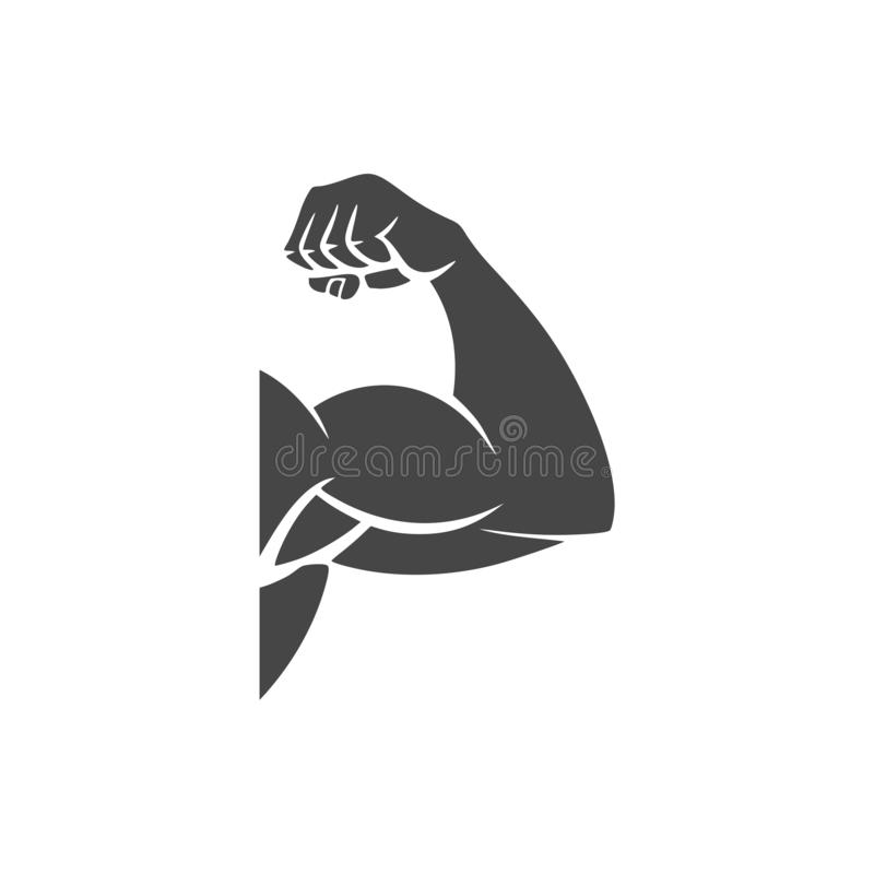 Muscular arm icon, Simple vector logo. On white background royalty free illustration