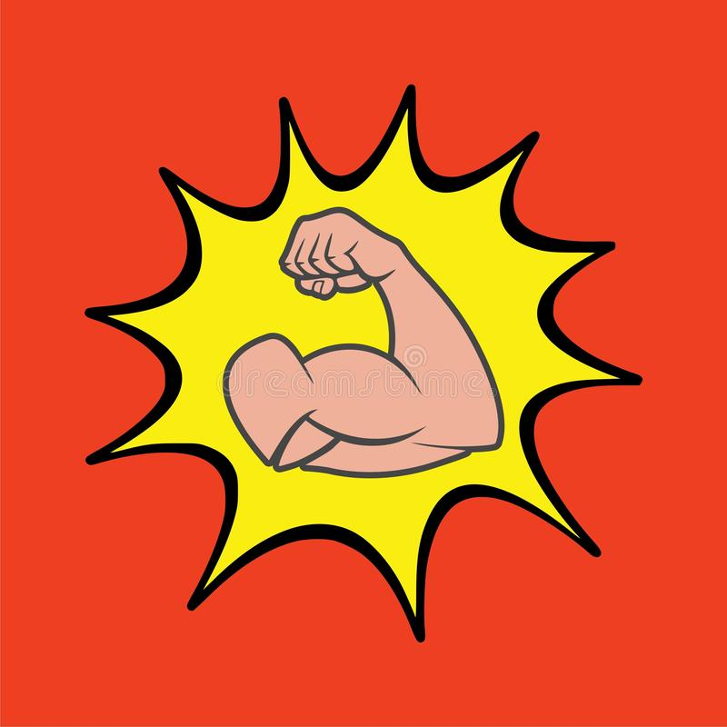 Muscular arm icon, Simple vector logo. On red background stock illustration