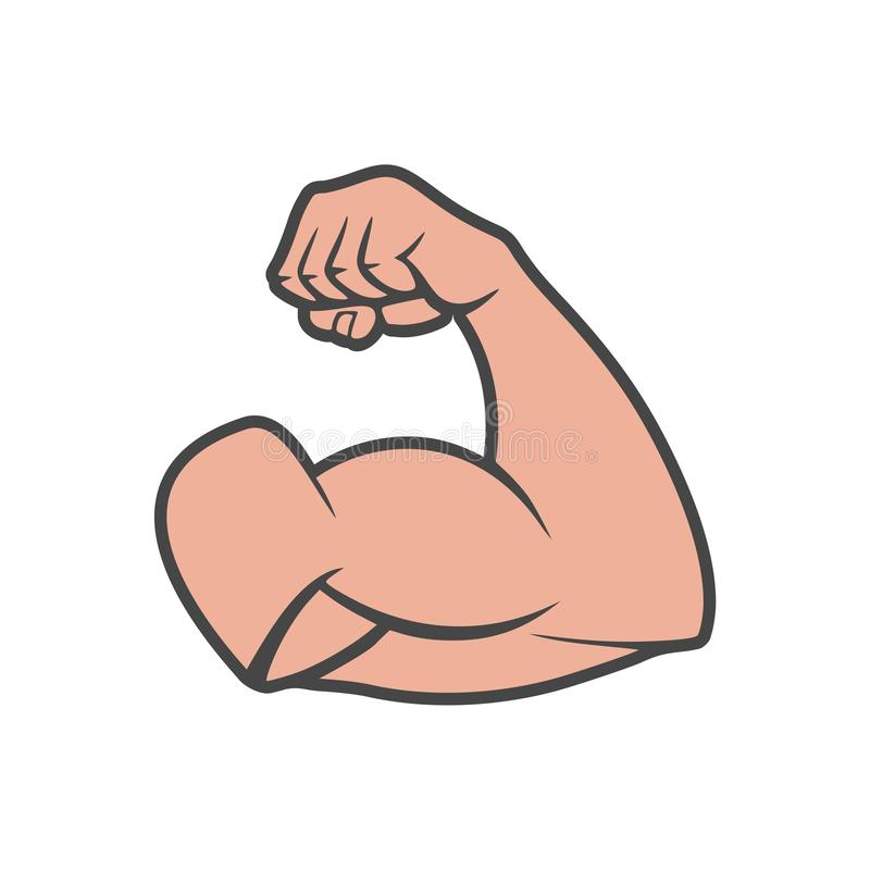 Muscular arm icon, Simple vector logo. On white background vector illustration