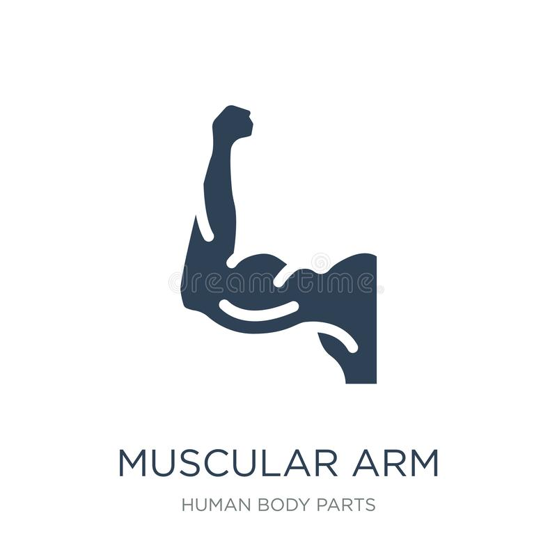 Muscular arm icon in trendy design style. muscular arm icon isolated on white background. muscular arm vector icon simple and. Modern flat symbol for web site vector illustration