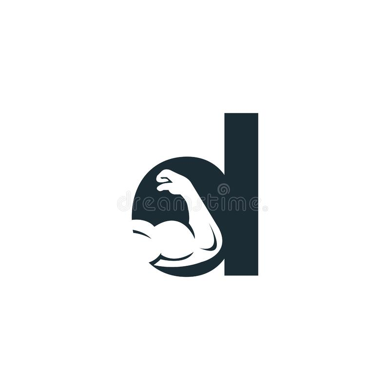Muscular arm and letter D  logo design. Fitness  logo design template. Logo template with the image of a muscular arm stock illustration