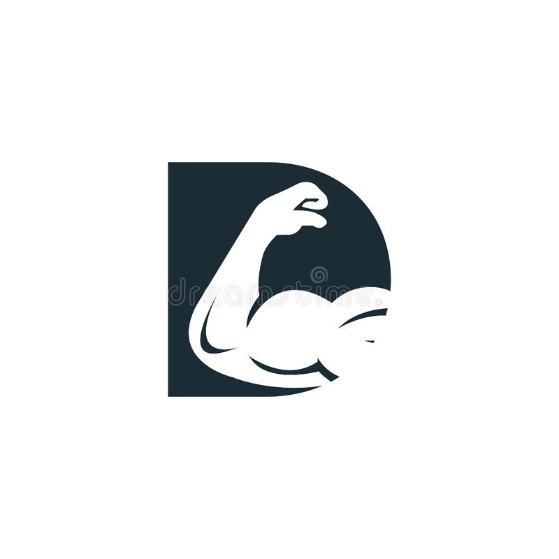 Muscular arm and letter D  logo design. Fitness  logo design template. Logo template with the image of a muscular arm royalty free illustration