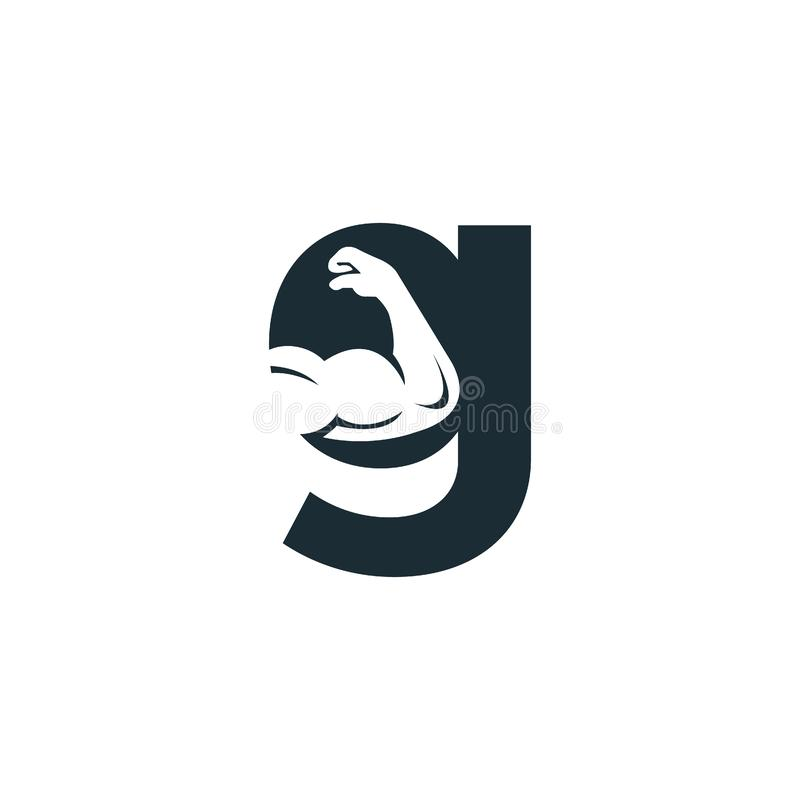 Muscular arm and letter G  logo design. Fitness  logo design template. Logo template with the image of a muscular arm vector illustration