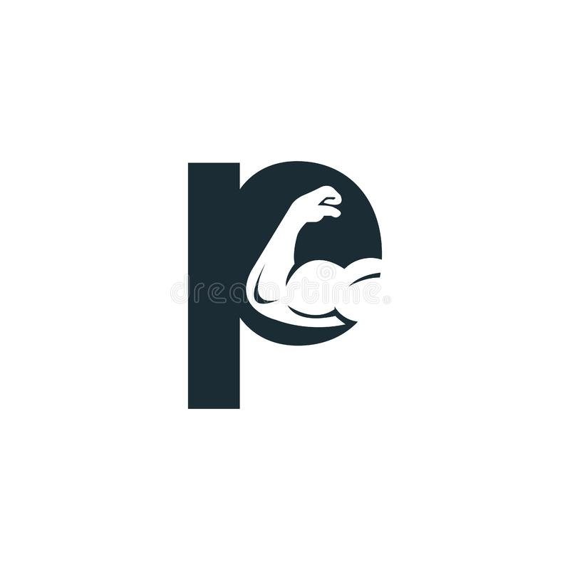 Muscular arm and letter P  logo design. Fitness  logo design template. Logo template with the image of a muscular arm stock illustration