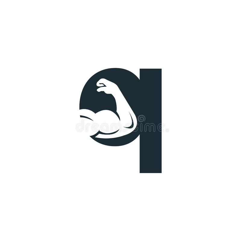 Muscular arm and letter Q  logo design. Fitness  logo design template. Logo template with the image of a muscular arm stock illustration