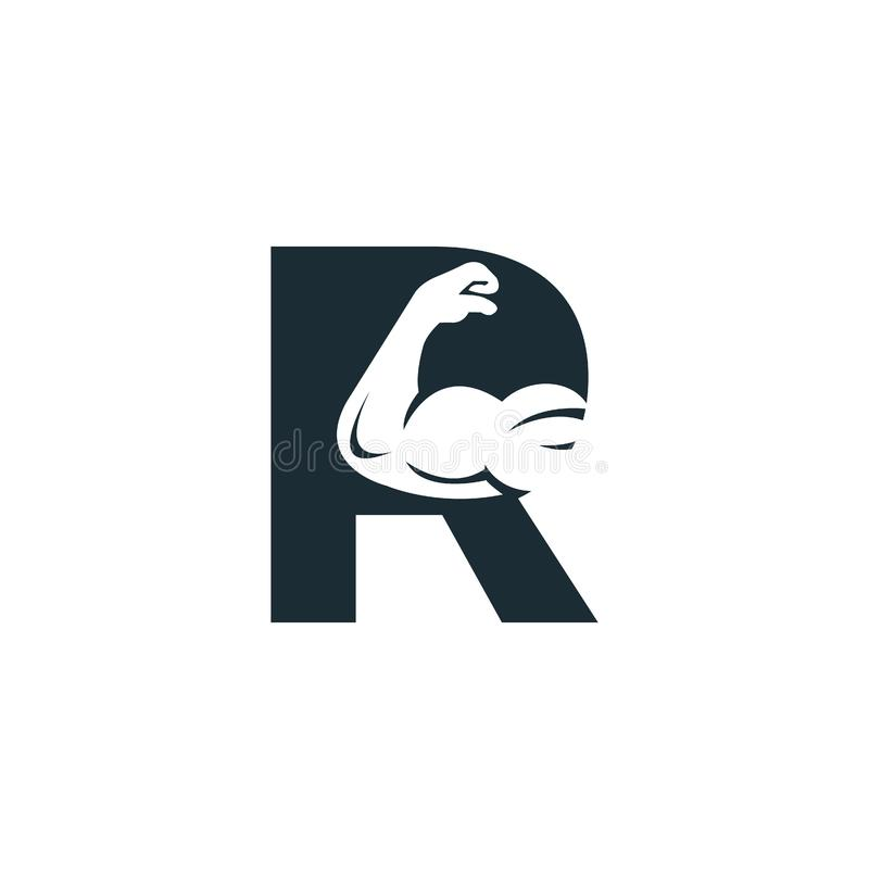 Muscular arm and letter R vector logo design. Fitness vector logo design template. Logo template with the image of a muscular arm stock illustration