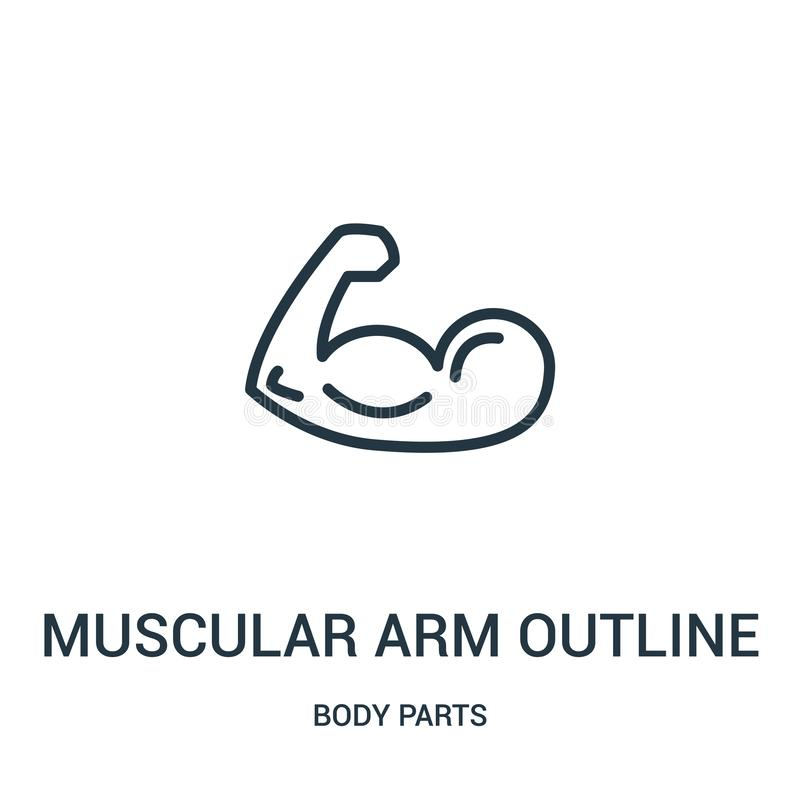 Muscular arm outline icon vector from body parts collection. Thin line muscular arm outline outline icon vector illustration. Linear symbol for use on web and vector illustration