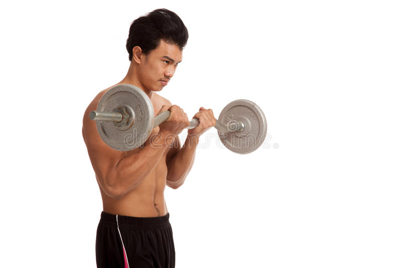 Muscular Asian man with barbell. Isolated on white background stock images