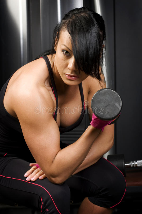 Muscular Asian Woman Working Out With Weights Stock Photo -6235