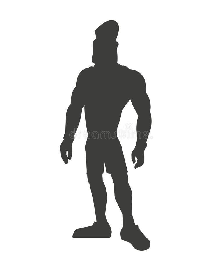 Muscular atlético do homem saudável da silhueta ilustração stock
