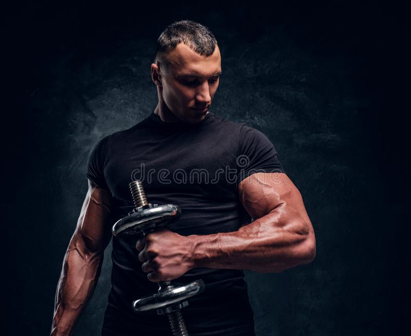 Muscular attractive bodybuilder lifting a barbell royalty free stock photos