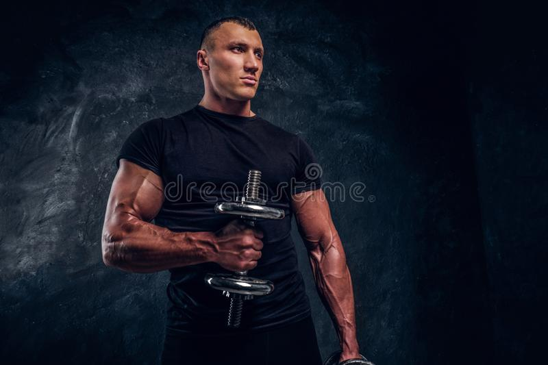 Muscular attractive bodybuilder lifting a dummbbell stock image