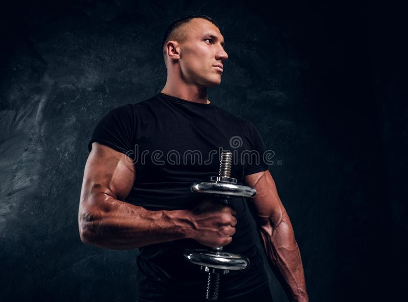 Muscular attractive bodybuilder lifting a dummbbell stock photo