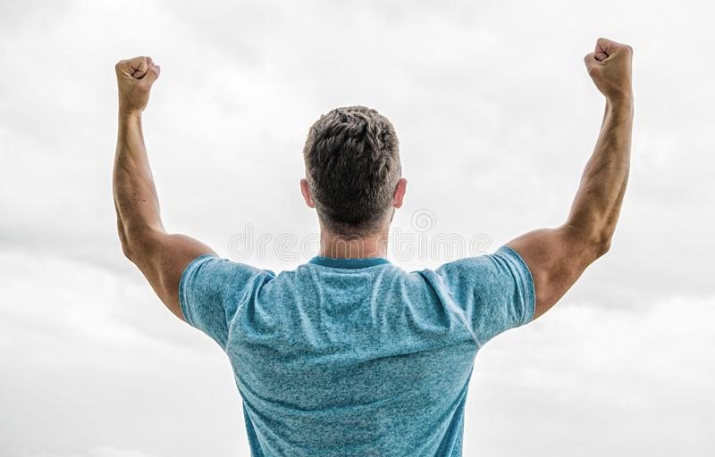 Muscular back man isolated on white. Man happy emotional celebrate profitable deal. Follow your dream. Keep moving royalty free stock image