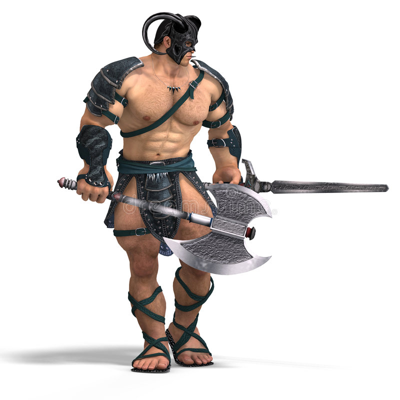 Muscular Barbarian Fight with Sword and Axe. With Clipping Path royalty free illustration