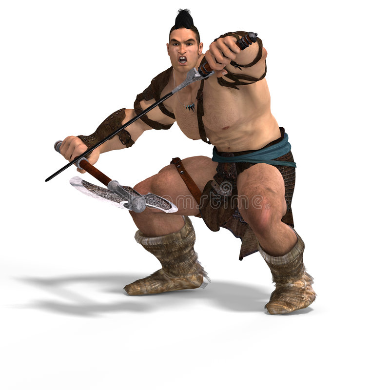 Muscular Barbarian Fight with Sword and Axe. With Clipping Path stock illustration